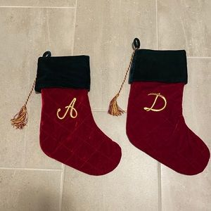 "Velvet letter ""D"" Christmas stocking"
